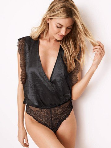 RUSHED VELVET PLUNGE BODYSUIT